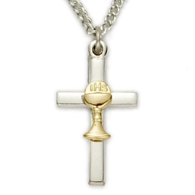 First Communion Sterling Silver Cross Pendant with Gold Chalice   - Two-Tone