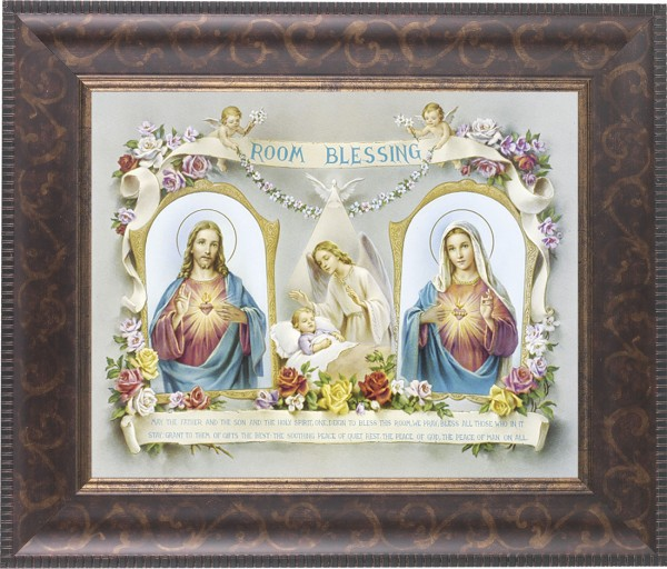Room Blessing Framed Print with Sacred Heart and Immaculate Heart - #124 Frame