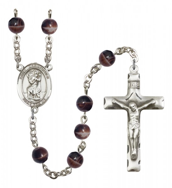 Men's St. Christopher Silver Plated Rosary - Brown