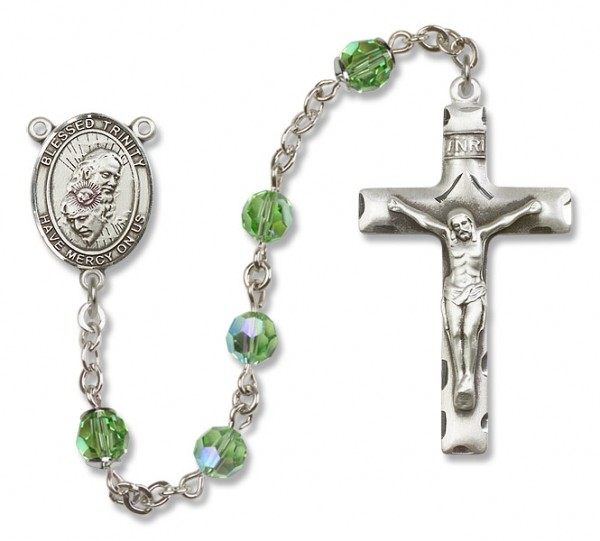 Blessed Trinity Sterling Silver Heirloom Rosary Squared Crucifix - Peridot