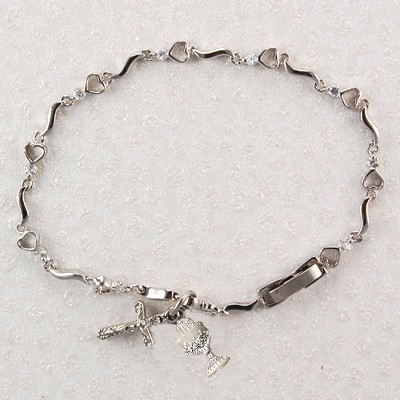 "First Communion Heart Bracelet with Chalice Charm - 6 1/2""L - Silver"