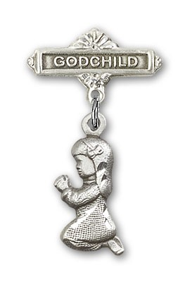Baby Pin with Praying Girl Charm and Godchild Badge Pin - Silver tone