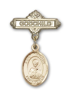 Pin Badge with St. Timothy Charm and Godchild Badge Pin - Gold Tone