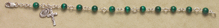 Rosary Bracelet - Sterling Silver with Malachite Beads - Green