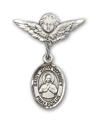 Pin Badge with St. John Vianney Charm and Angel with Smaller Wings Badge Pin - Silver tone