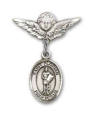 Pin Badge with St. Florian Charm and Angel with Smaller Wings Badge Pin - Silver tone