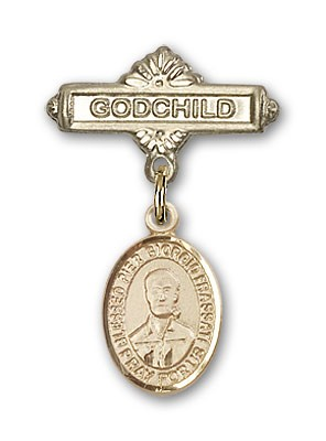 Pin Badge with Blessed Pier Giorgio Frassati Charm and Godchild Badge Pin - 14K Yellow Gold