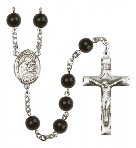 Men's St. Aloysius Gonzaga Silver Plated Rosary - Black
