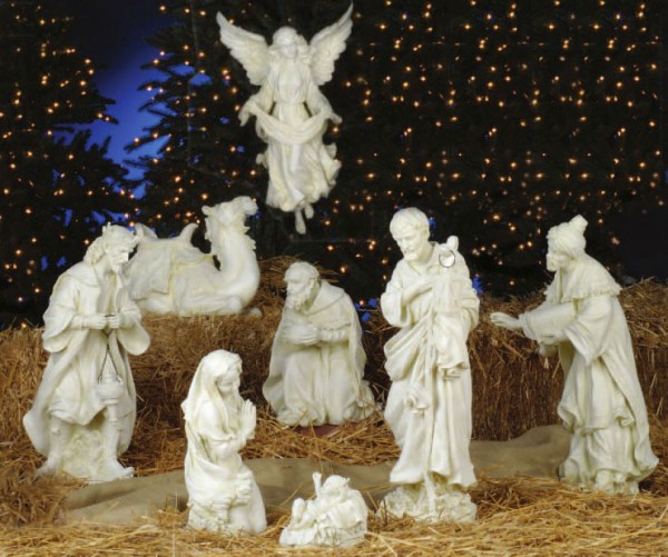 Church Size Nativity Set in Ivory 27 Inch 8 Pieces - Ivory