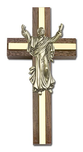 "Risen Christ Wall Cross in Walnut and Metal Inlay 4"" - Gold Tone"