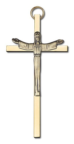 "Contemporary Risen Christ Wall Crucifix 4"" - Gold Tone"