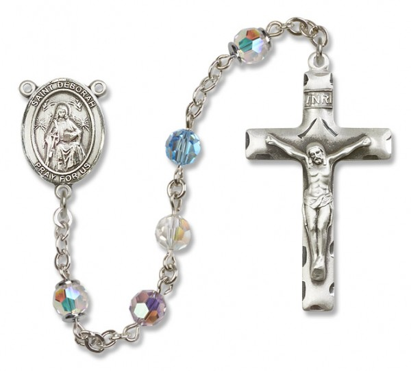 St. Deborah Sterling Silver Heirloom Rosary Squared Crucifix - Multi-Color
