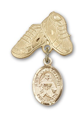 Pin Badge with St. Julie Billiart Charm and Baby Boots Pin - 14K Solid Gold
