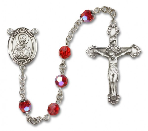 St. Timothy Rosary Heirloom Fancy Crucifix - Ruby Red