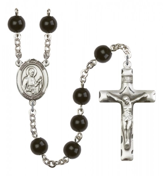 Men's St. Camillus of Lellis Silver Plated Rosary - Black