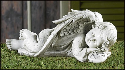 "Sleeping Angel Garden Statue - 12.25""W - Stone"