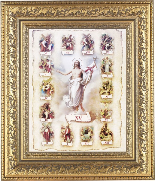 Stations of the Cross Illustrated Framed Print - #115 Frame