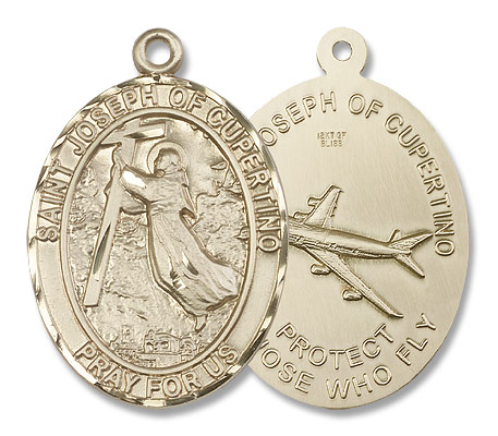 Large St. Joseph of Cupertino Medal - 14K Solid Gold