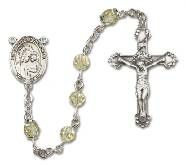 Our Lady of Good Counsel Sterling Silver Heirloom Rosary Fancy Crucifix - Jonquil