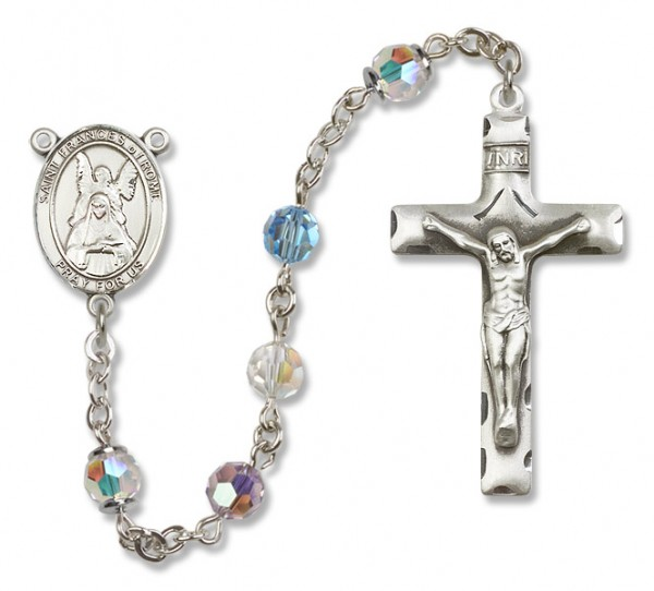 St. Frances of Rome Sterling Silver Heirloom Rosary Squared Crucifix - Multi-Color