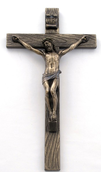 Bronzed Resin Wall Crucifix - 10 Inches - Bronze