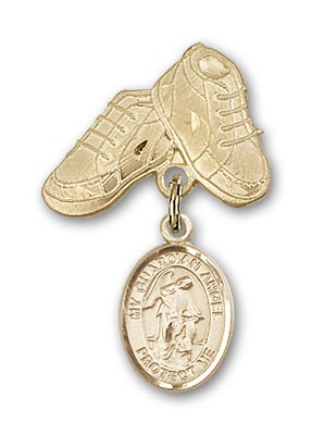 Baby Badge with Guardian Angel Charm and Baby Boots Pin - 14K Solid Gold