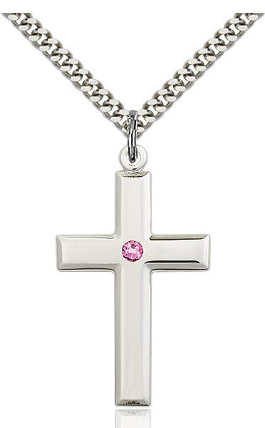 Large Plain Cross Pendant with Birthstone Options - Rose
