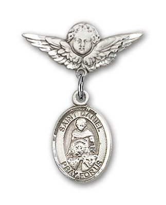 Pin Badge with St. Daniel Charm and Angel with Smaller Wings Badge Pin - Silver tone