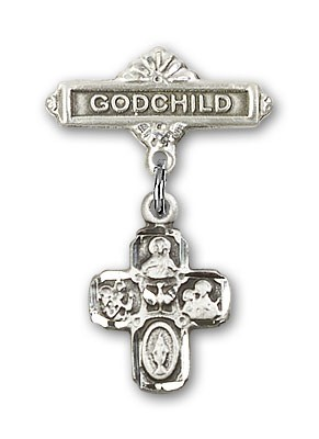 Baby Badge with 4-Way Charm and Godchild Badge Pin - Silver tone