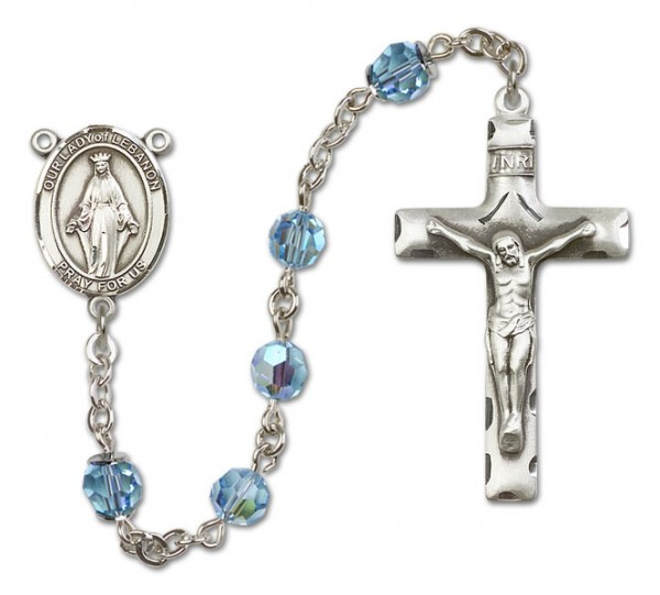 Our Lady of Lebanon Sterling Silver Heirloom Rosary Squared Crucifix - Aqua
