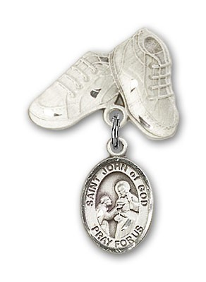 Pin Badge with St. John of God Charm and Baby Boots Pin - Silver tone