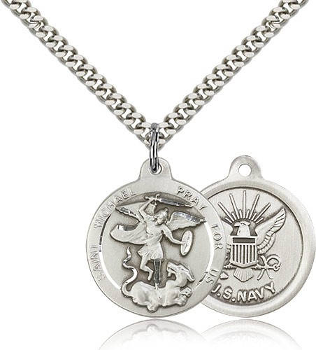 St. Michael the Archangel Navy Medal - Sterling Silver