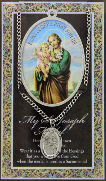 St. Joseph Medal in Pewter with Bi-Fold Prayer Card - Silver tone