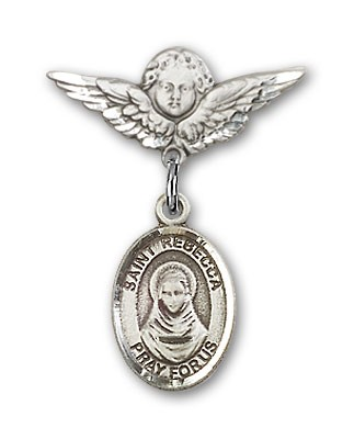 Pin Badge with St. Rebecca Charm and Angel with Smaller Wings Badge Pin - Silver tone