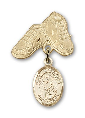Pin Badge with St. Margaret Mary Alacoque Charm and Baby Boots Pin - 14K Yellow Gold