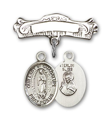 Pin Badge with Our Lady of Guadalupe Charm and Arched Polished Engravable Badge Pin - Silver tone