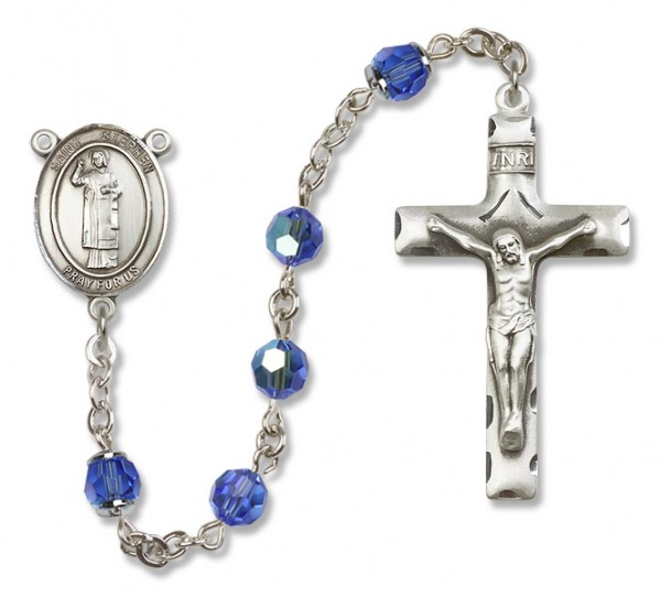 St. Stephen the Martyr Sterling Silver Heirloom Rosary Squared Crucifix - Sapphire