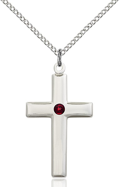 Women's Plain Cross Pendant - Garnet