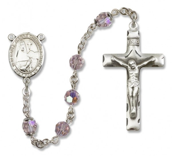 Jeanne Chezard de Matel Sterling Silver Heirloom Rosary Squared Crucifix - Light Amethyst