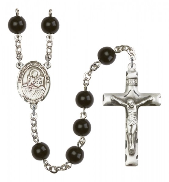 Men's St. Lidwina of Schiedam Silver Plated Rosary - Black
