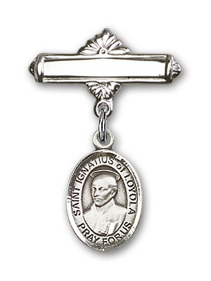 Pin Badge with St. Ignatius Charm and Polished Engravable Badge Pin - Silver tone