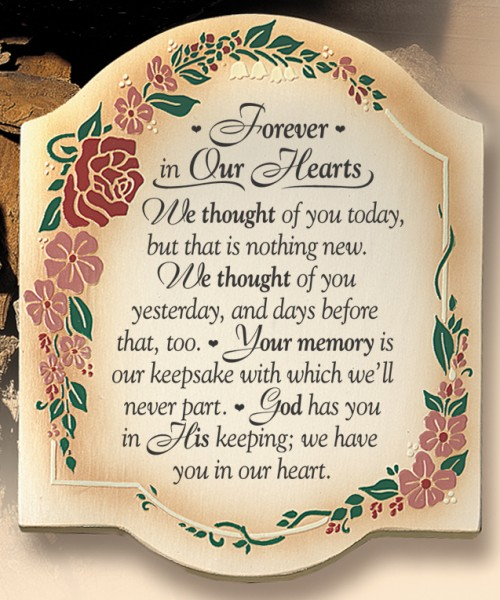 Forever In Our Hearts Wall Plaque
