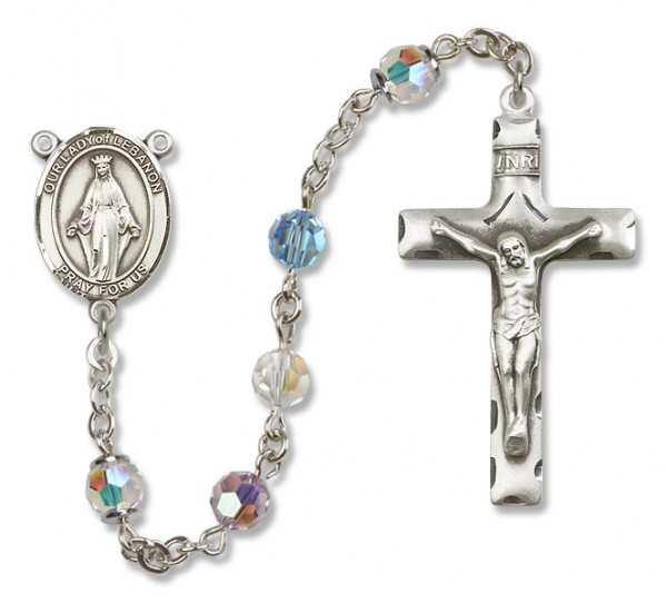 Our Lady of Lebanon Sterling Silver Heirloom Rosary Squared Crucifix - Multi-Color