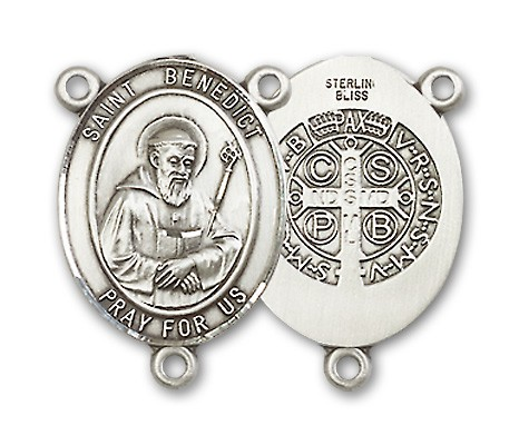 St. Benedict Rosary Centerpiece Sterling Silver or Pewter - Sterling Silver