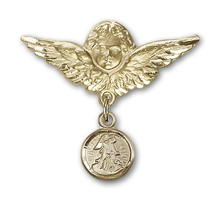 Baby Pin with Guardian Angel Charm and Angel with Larger Wings Badge Pin - 14K Yellow Gold