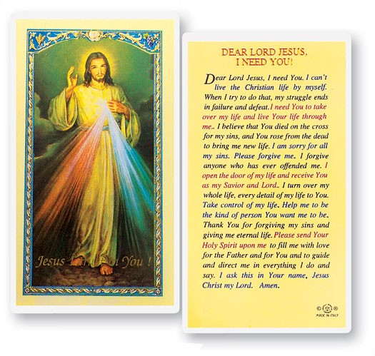 Dear Lord Jesus I Need You Laminated Prayer Cards 25 Pack - Full Color