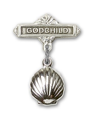 Baby Pin with Shell Charm and Godchild Badge Pin - Silver tone