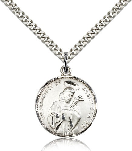 Round St. Francis of Assisi Medal - Sterling Silver