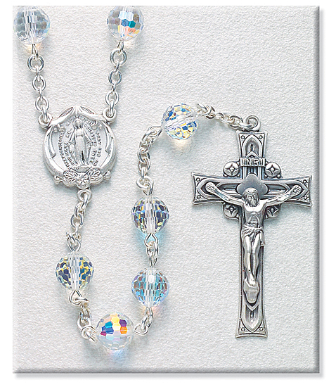 8mm Crystal Swarovski Beads Rosary in Sterling Silver with Round Miraculous Center - Crystal