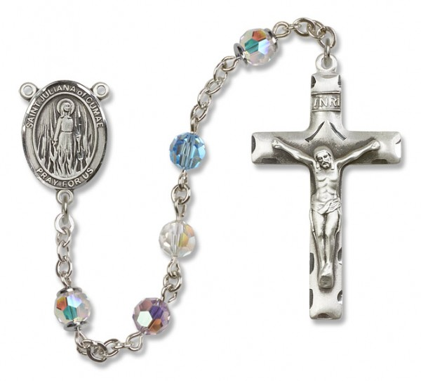 St. Juliana Sterling Silver Heirloom Rosary Squared Crucifix - Multi-Color